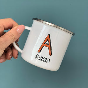 Personalised Narrow Sketch Initial Enamel Mug