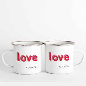 LOVE Enamel mug with couples names