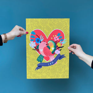 Love Birds Couple Print In A4 or A3