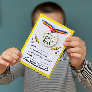 Mega Super Hero Medal for Kids With Backing Card