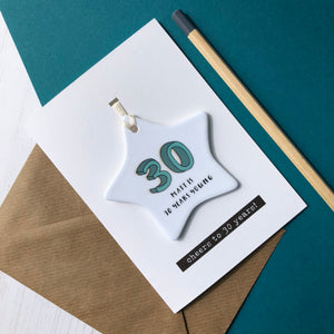 30th Birthday Card With Ceramic Star Ornament Keepsake