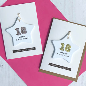 18th Birthday Card With Ceramic Star Ornament Keepsake