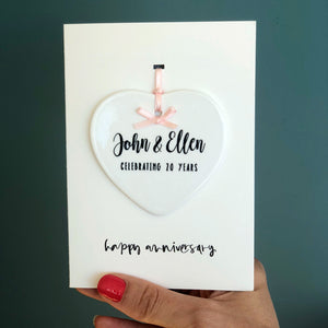 Personalised Anniversary Card With Ceramic heart Ornament Keepsake