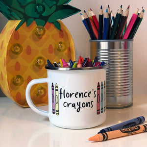 Childrens personalised crayon pot