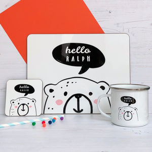 Hello Bear Placemat, Coaster & Enamel Mug Gift Set