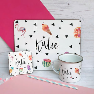 Tropical Placemat, Coaster & Enamel Mug Gift Set