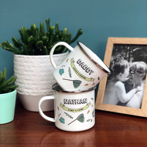 Personalised Fishing themed Enamel Mug