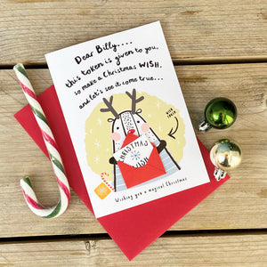 Sending a Christmas Wish token Greeting Card for kids
