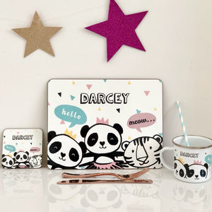 Pandas and Tiger Placemat, Coaster & Enamel Gift Set