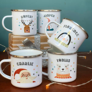 Christmas Enamel Mug With Snowman Wearing Hood