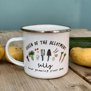 Personalised Allotment themed Enamel Mug