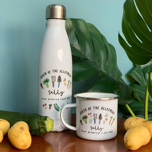 Personalised Allotment themed Enamel Mug & Thermal bottle set