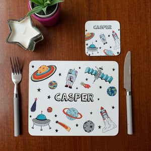 Space Placemat, Coaster & Enamel Mug Gift Set