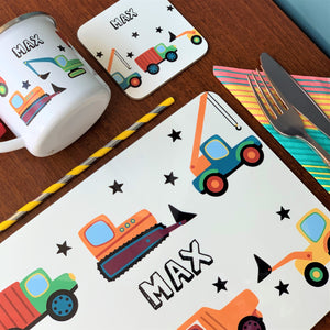 Digger and Trucks Placemat, Coaster & Enamel Mug Gift Set