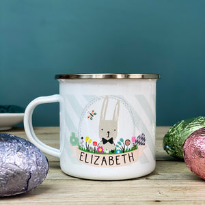 Easter Bunny Striped Enamel Mug