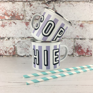 Candy Cane Striped Enamel Mug