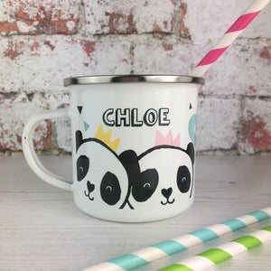 Pandas and Tiger Personalised Enamel Mug