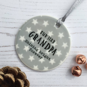 Star Memorial Christmas Ceramic Bauble, Shining Bright Forever