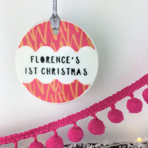 Ceramic Baby's First Christmas Bauble - Bright