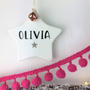 Ceramic Star Personalised Decoration, with Jingle Bell