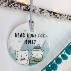Bear Hugs Christmas Ceramic Bauble
