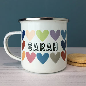 Rainbow Heart Personalised Enamel Mug