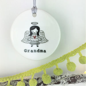 Angel Memorial Christmas Ceramic Bauble