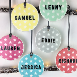 Bright Colour Pop Star Ceramic Bauble
