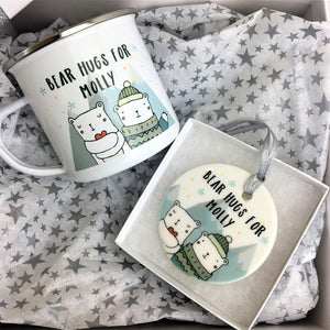 Christmas Bear Hugs Enamel Mug and Bauble Gift Set