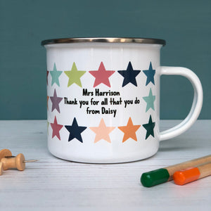 Super Star Teacher Enamel Mug, Rainbow Stars