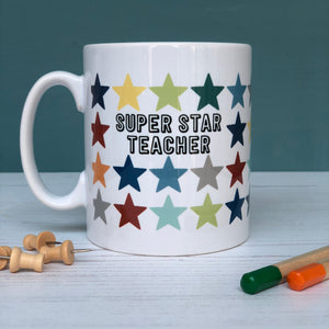 Super Star Teacher China Mug, Rainbow Stars