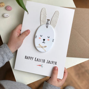 Happy Easter Card - With Keepsake Ceramic Bunny Decoration