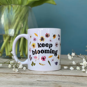 Keep Blooming Pressed Flower China Mug