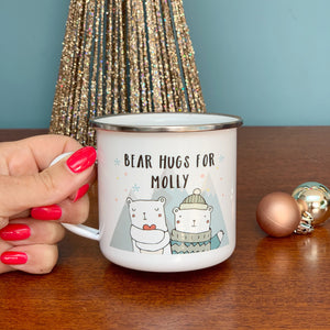 Christmas Bear Hugs Enamel Mug