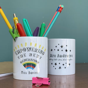 Teachers Personalised Monochrome Star Ceramic Desk Tidy