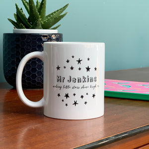 Teacher China Mug - Scattered monochrome stars