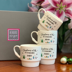 Family Christmas Stackable Bone China Mugs