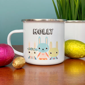 Cute Bunnies Enamel Mug