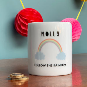 Follow The Rainbow Personalised Money Box