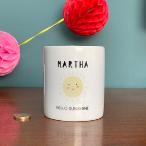 Hello Sunshine Personalised Money Box