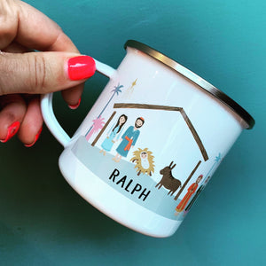 Personalised Retro Nativity Enamel Mug