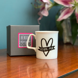 Glam-Ma Monochrome Heart Bone China Mug
