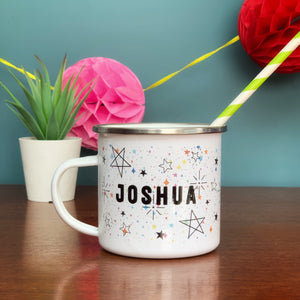 Galaxy Star Design Personalised Enamel Mug