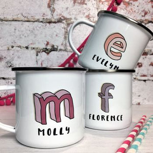 3D Cartoon Sketch Initial Enamel Mug