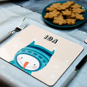 Christmas Placemat With Snowman Wearing A Hood