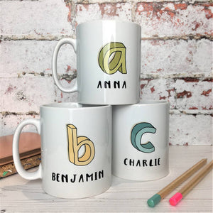 3D Cartoon Sketch Initial And Name China Mug