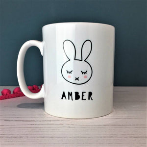 Monochrome Bunny China Mug