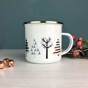 Cool Nordic Christmas Tree Enamel Mug
