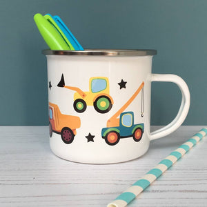 Trucks and Diggers Enamel Mug