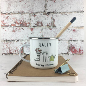 'Blooming Marvellous' Garden Themed Enamel Mug
